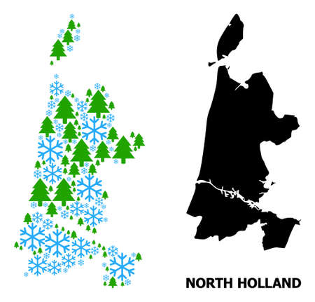 Vector mosaic map of North Holland constructed for New Year, Christmas, and winter. Mosaic map of North Holland is constructed of snow flakes and fir trees.