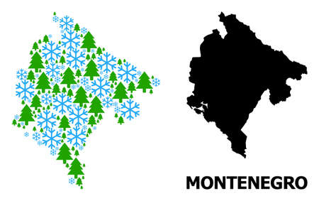 Vector mosaic map of Montenegro done for New Year, Christmas, and winter. Mosaic map of Montenegro is done from snowflakes and fir forest.