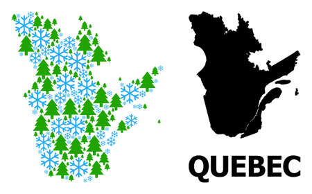 Vector collage map of Quebec Province designed for New Year, Christmas, and winter. Mosaic map of Quebec Province is designed of snow flakes and fir trees. Ilustração