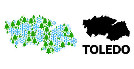 Vector mosaic map of Toledo Province combined for New Year, Christmas, and winter. Mosaic map of Toledo Province is formed from snow and fir-trees. Illustration