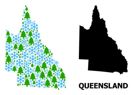 Vector mosaic map of Australian Queensland created for New Year, Christmas, and winter. Mosaic map of Australian Queensland is constructed from snowflakes and fir trees.