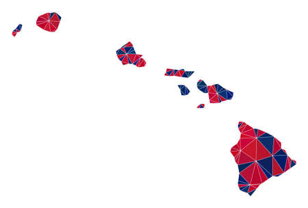 Vector triangle mosaic map of Hawaii State in American flag colors, blue and red. Geographic collage in blue and red color tints. Abstract mosaic of map of Hawaii State constructed of triangle spots.