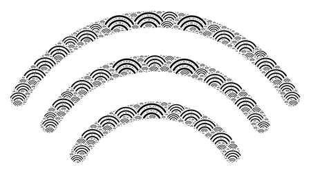 Vector wi-fi waves fractal is constructed of random recursive wi-fi waves parts. Fractal combination of wi-fi waves.