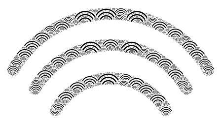 Vector wi-fi waves fractal is constructed of random recursive wi-fi waves parts. Fractal combination of wi-fi waves. Vektoros illusztráció