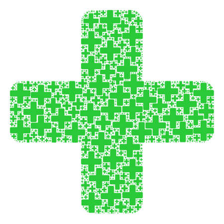Vector green cross collage is made from randomized fractal green cross pictograms. Fractal mosaic from green cross.