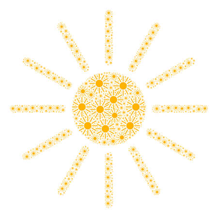 Vector sun mosaic is made of random recursive sun parts. Recursive composition of sun. 向量圖像