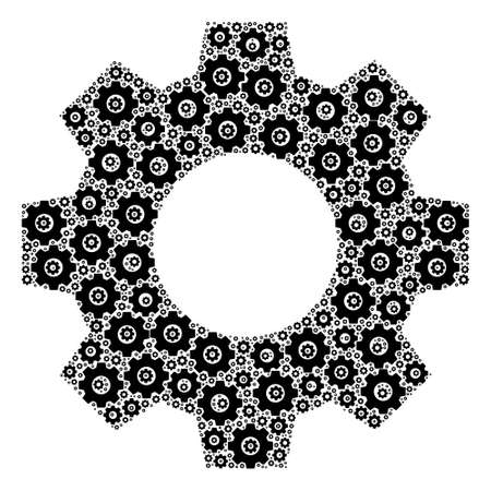 Vector gear composition is composed of scattered fractal gear items. Fractal combination of gear.