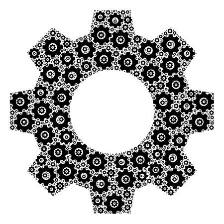 Vector gear composition is composed of scattered fractal gear items. Fractal combination of gear. Vektoros illusztráció