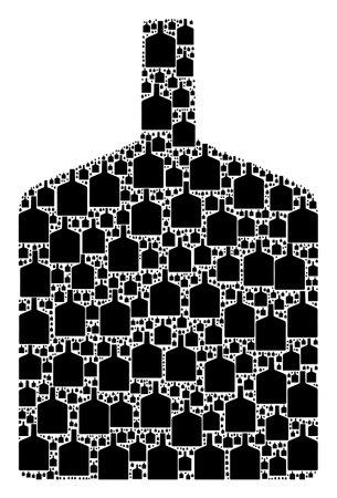 Vector wide bottle fractal is formed from random recursive wide bottle icons. Fractal mosaic from wide bottle.