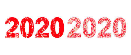 Vector 2020 year digits fractal is formed from random fractal 2020 year digits elements. Scratched 2020 year digits icon. Fractal composition for 2020 year digits.