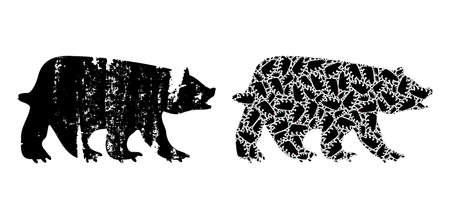 Vector bear fractal is composed of scattered fractal bear icons. Scratched bear icon. Fractal composition from bear. Ilustracja