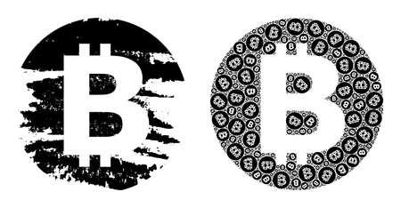 Vector bitcoin fractal is composed from scattered fractal bitcoin elements. Rough bitcoin icon. Recursive composition from bitcoin.