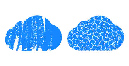 Vector cloud mosaic is composed of random recursive cloud parts. Scratched cloud icon. Recursive mosaic for cloud.