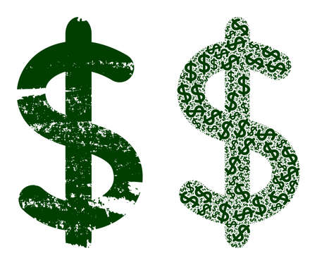 Vector dollar sign fractal is formed of repeating fractal dollar sign elements. Scratched dollar sign icon. Fractal composition of dollar sign. Vektoros illusztráció