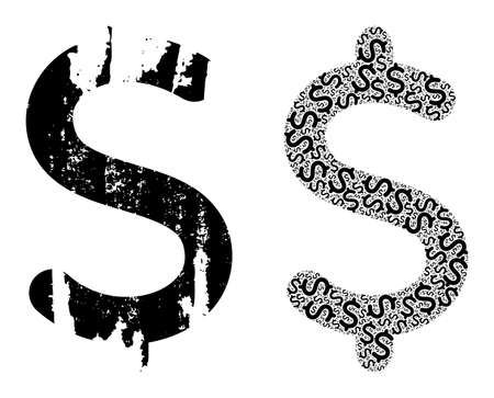 Vector dollar symbol composition is made of scattered itself dollar symbol items. Grunge dollar symbol icon. Fractal composition of dollar symbol.