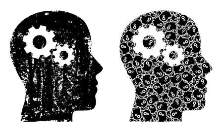 Vector head gears collage is constructed from repeating fractal head gears pictograms. Scratched head gears icon. Recursive collage from head gears. Vektoros illusztráció