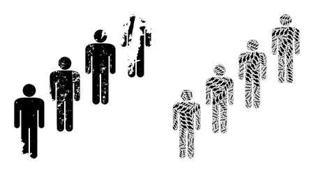 Vector people queue fractal is made from scattered recursive people queue pictograms. Rough people queue icon. Fractal mosaic from people queue. 向量圖像