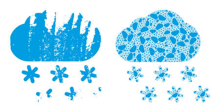 Vector snow weather mosaic is made with repeating itself snow weather elements. Rough snow weather icon. Fractal mosaic for snow weather.