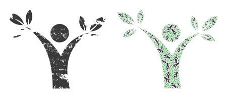 Vector tree man mosaic is created from random recursive tree man parts. Grunge tree man icon. Recursive mosaic from tree man. Vektoros illusztráció