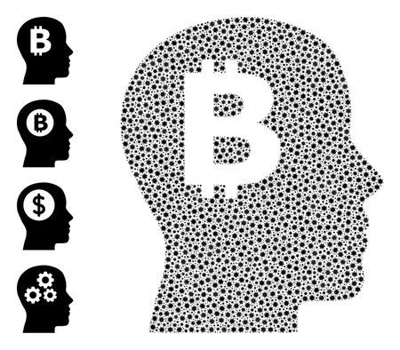 Vector bitcoin imagination icon coronavirus collage. Bitcoin imagination mosaic is organized with small coronavirus pathogen items. Collage is designed for hospital illustrations.
