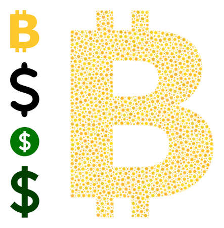 Vector bitcoin symbol icon covid-2019 mosaic. Bitcoin symbol mosaic is constructed with little covid infection icons. Image constructed for clinic wallpapers. Ilustración de vector