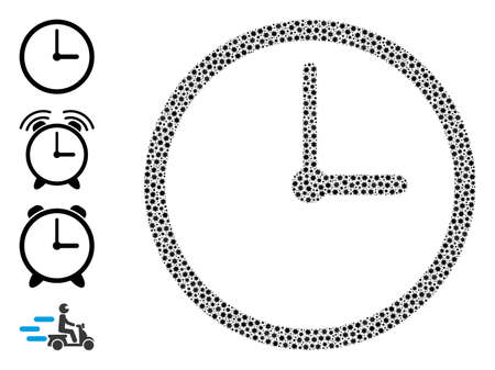 Vector clock icon covid-2019 composition. Clock mosaic is created with tiny covid virulent icons. Collage is created for doctor purposes.