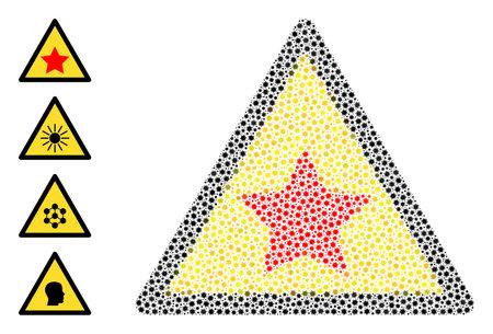 Vector communism star warning icon coronavirus mosaic. Communism star warning mosaic is organized of small coronavirus pathogen items. Abstraction is designed for medicare projects. 向量圖像