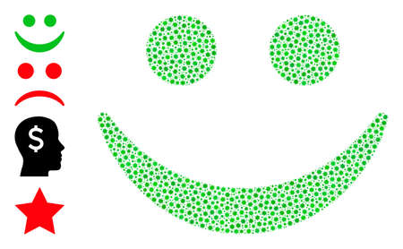 Vector happy smile icon covid mosaic. Happy smile mosaic is created from little covid infection items. Image is organized for lockdown purposes.