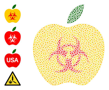 Vector poison apple icon covid-2019 mosaic. Poison apple mosaic is made of small covid viral elements. Abstraction is organized for doctor projects.