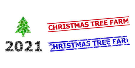 2021 fir tree star pattern and grunge Christmas Tree Farm seal stamps. Red and blue stamps with unclean surface and Christmas Tree Farm tag.