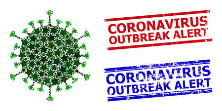 Covid virus star pattern and grunge Coronavirus Outbreak Alert seals. Red and blue seals with grunge style and Coronavirus Outbreak Alert tag.