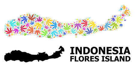 Vector hemp mosaic and solid map of Indonesia - Flores Island. Map of Indonesia - Flores Island vector mosaic for hemp legalize campaign.