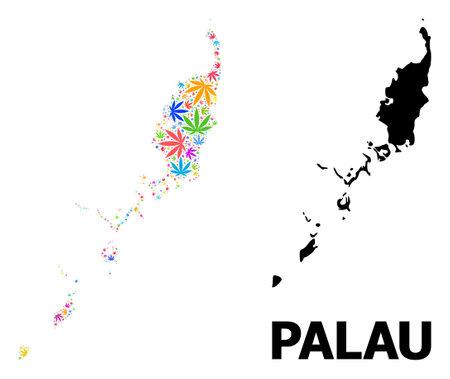 Vector marijuana mosaic and solid map of Palau Islands. Map of Palau Islands vector mosaic for marijuana legalize campaign. Map of Palau Islands is composed from multi-colored marijuana leaves.