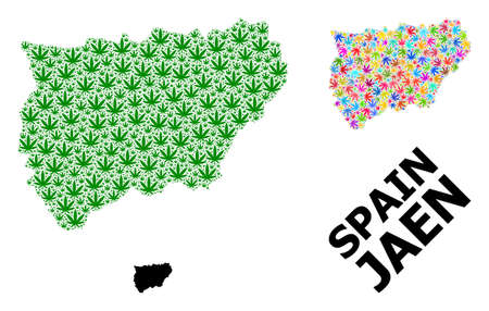Vector cannabis mosaic and solid map of Jaen Spanish Province. Map of Jaen Spanish Province vector mosaic for cannabis legalize campaign.