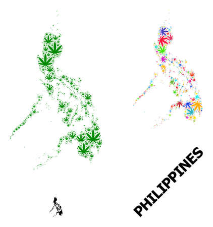 Vector marijuana mosaic and solid map of Philippines. Map of Philippines vector mosaic for marijuana legalize campaign. Map of Philippines is designed from green and bright cannabis leaves.