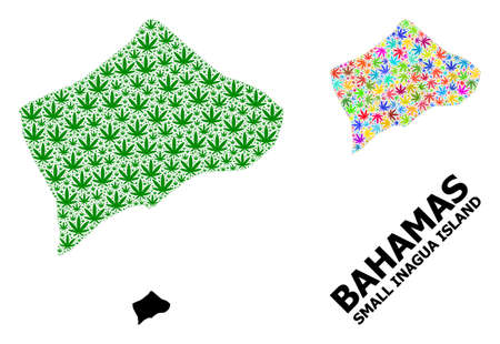 Vector weed mosaic and solid map of Small Inagua Island. Map of Small Inagua Island vector mosaic for weed legalize campaign. Map of Small Inagua Island is created from green and bright weed leaves.
