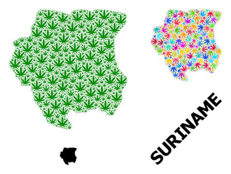 Vector marijuana mosaic and solid map of Suriname. Map of Suriname vector mosaic for weed legalize campaign. Map of Suriname is created with green and bright marijuana leaves.