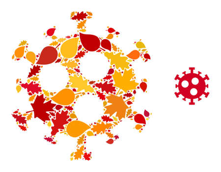 Covid-2019 Virus mosaic icon created for fall season. Vector covid-2019 virus mosaic is organized with random fall maple and oak leaves. Mosaic autumn leaves in bright gold, brown and red colors.
