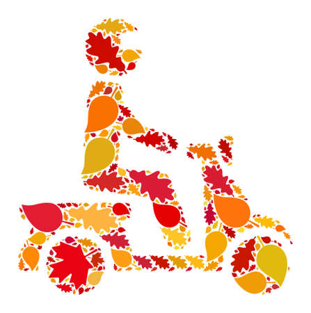 Motorbike Driver mosaic icon created for fall season. Raster motorbike driver mosaic is created of scattered fall maple and oak leaves. Mosaic autumn leaves in bright gold, brown and red colors.