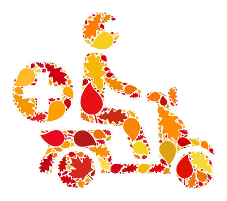 Doctor Motorbike mosaic icon designed for fall season. Raster doctor motorbike mosaic is designed of randomized autumn maple and oak leaves. Mosaic autumn leaves in bright gold, brown and red colors.