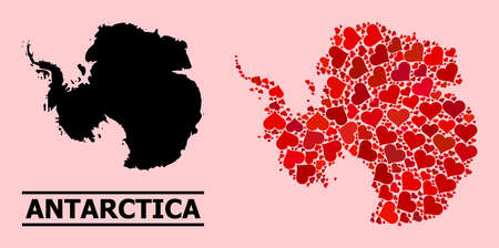 Love mosaic and solid map of Antarctica on a pink background. Mosaic map of Antarctica is formed from red lovely hearts. Vector flat illustration for love concept illustrations.