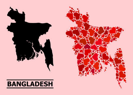 Love mosaic and solid map of Bangladesh on a pink background. Mosaic map of Bangladesh is formed with red love hearts. Vector flat illustration for marriage abstract illustrations.