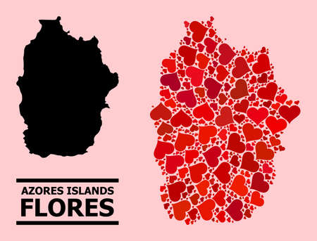 Love mosaic and solid map of Azores - Flores Island on a pink background. Mosaic map of Azores - Flores Island is formed with red lovely hearts.