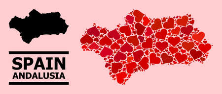 Love pattern and solid map of Andalusia Province on a pink background. Collage map of Andalusia Province is designed with red love hearts. Vector flat illustration for love conceptual illustrations.