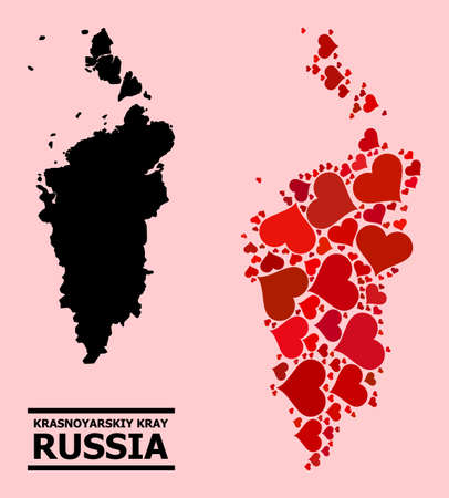 Love collage and solid map of Krasnoyarskiy Kray on a pink background. Collage map of Krasnoyarskiy Kray composed with red love hearts. Vector flat illustration for dating abstract illustrations.