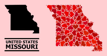 Love collage and solid map of Missouri State on a pink background. Collage map of Missouri State is composed from red lovely hearts. Vector flat illustration for dating conceptual illustrations. Ilustração