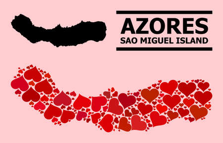 Love mosaic and solid map of Sao Miguel Island on a pink background. Mosaic map of Sao Miguel Island composed with red lovely hearts. Vector flat illustration for dating concept illustrations.