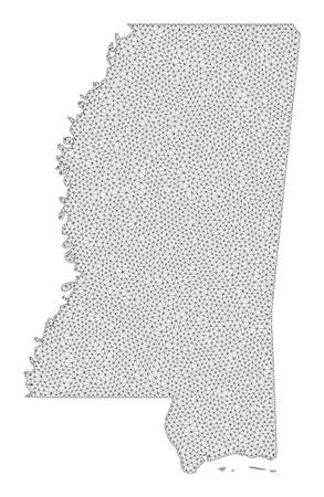 Polygonal mesh map of Mississippi State in high detail resolution. Mesh lines, triangles and points form map of Mississippi State.