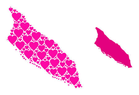 Love collage and solid map of Aruba Island. Mosaic map of Aruba Island designed with pink lovely hearts. Vector flat illustration for love conceptual illustrations.