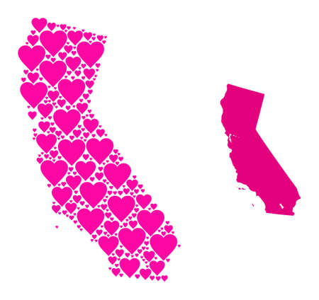 Love collage and solid map of California. Mosaic map of California is created with pink love hearts. Vector flat illustration for love conceptual illustrations.